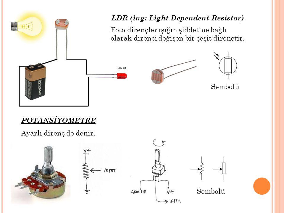 Foto dirençler ışığın şiddetine bağlı olarak direnci değişen bir çeşit dirençtir. Ayarlı direnç de denir. LDR (ing: Light Dependent Resistor) POTANSİY