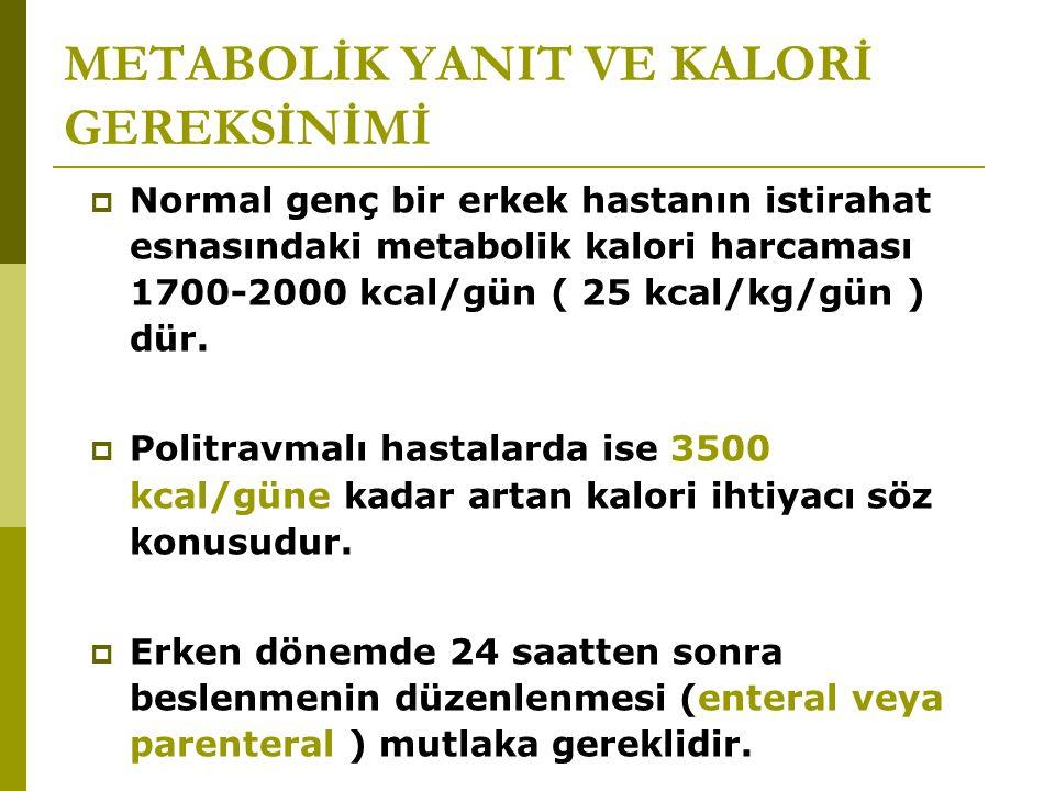 METABOLİK YANIT VE KALORİ GEREKSİNİMİ  Normal genç bir erkek hastanın istirahat esnasındaki metabolik kalori harcaması 1700-2000 kcal/gün ( 25 kcal/k