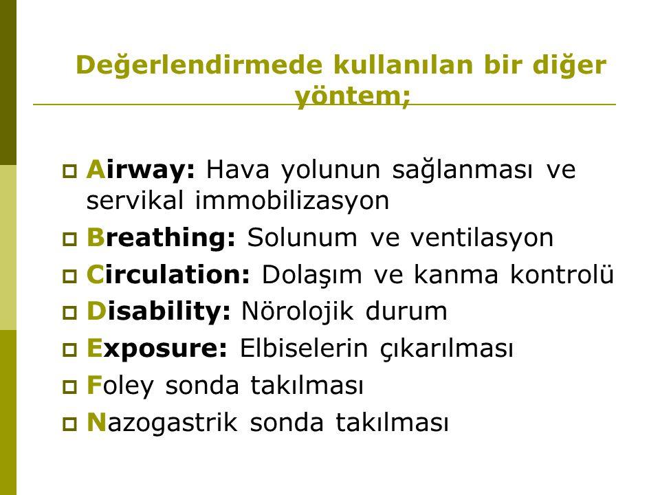 Değerlendirmede kullanılan bir diğer yöntem;  Airway: Hava yolunun sağlanması ve servikal immobilizasyon  Breathing: Solunum ve ventilasyon  Circul