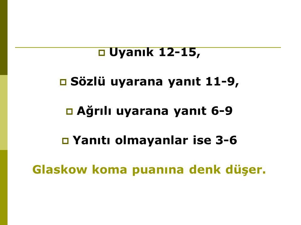  Uyanık 12-15,  Sözlü uyarana yanıt 11-9,  Ağrılı uyarana yanıt 6-9  Yanıtı olmayanlar ise 3-6 Glaskow koma puanına denk düşer.