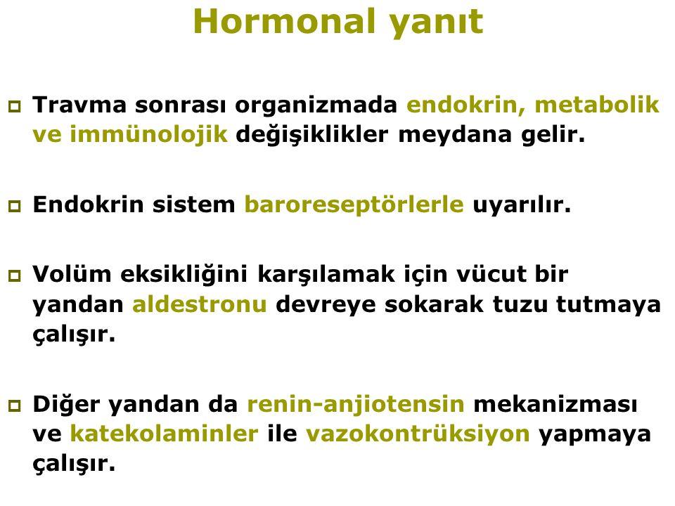 Hormonal yanıt  Travma sonrası organizmada endokrin, metabolik ve immünolojik değişiklikler meydana gelir.  Endokrin sistem baroreseptörlerle uyarıl