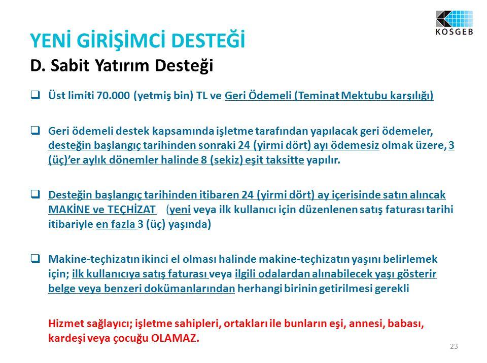 YENİ GİRİŞİMCİ DESTEĞİ D.