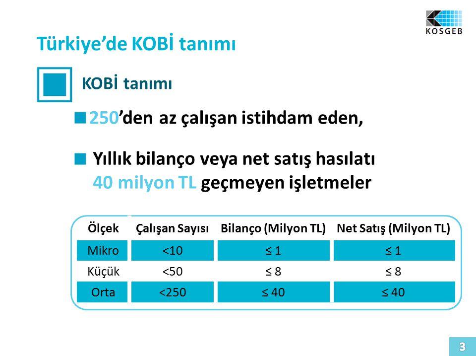 Türkiye'de KOBİ tanımı KOBİ tanımı 250'den az çalışan istihdam eden, Yıllık bilanço veya net satış hasılatı 40 milyon TL geçmeyen işletmeler ÖlçekÇalışan SayısıBilanço (Milyon TL)Net Satış (Milyon TL) Mikro<10≤ 1 Küçük<50≤ 8 Orta<250≤ 40
