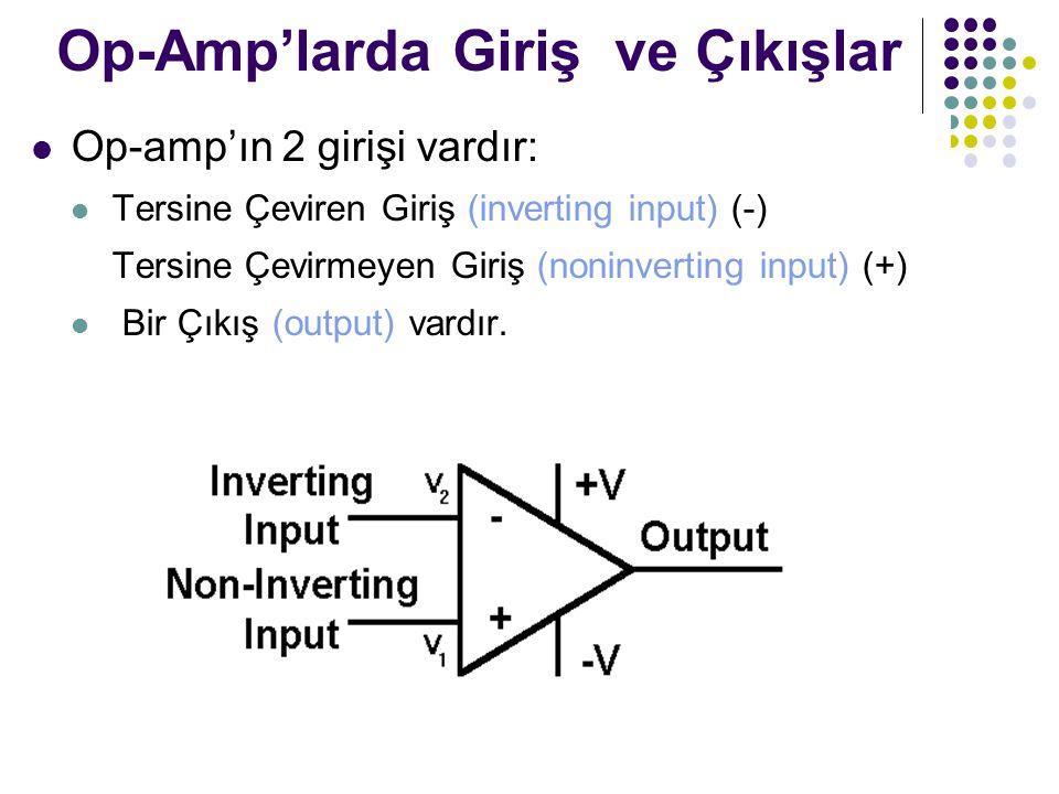 Op-Amp'larda Giriş ve Çıkışlar Op-amp'ın 2 girişi vardır: Tersine Çeviren Giriş (inverting input) (-) Tersine Çevirmeyen Giriş (noninverting input) (+) Bir Çıkış (output) vardır.