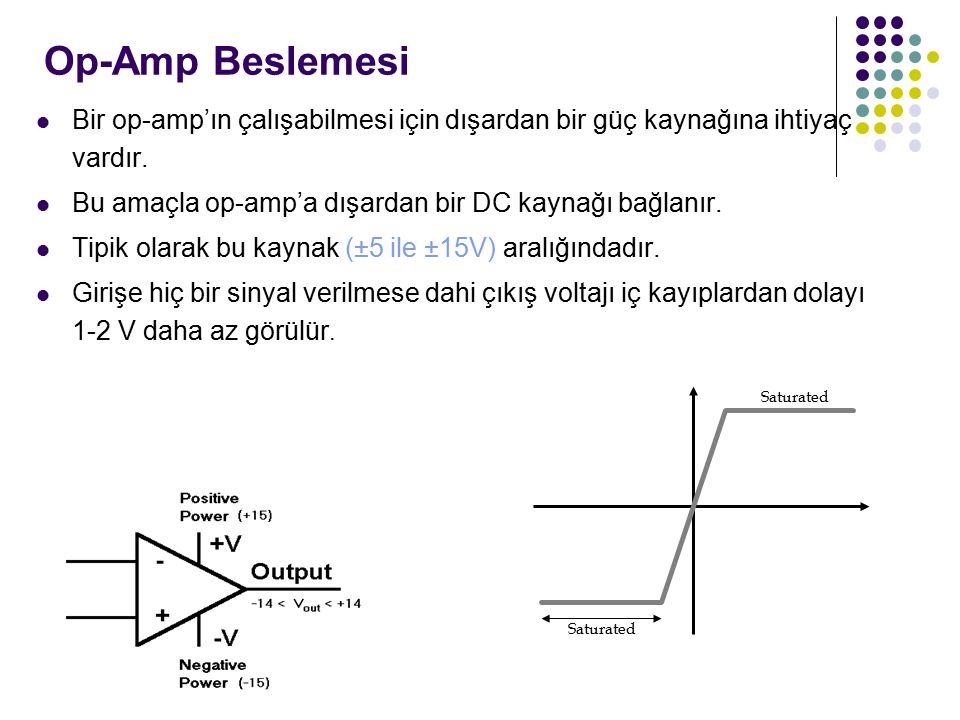 Op-Amp Beslemesi Bir op-amp'ın çalışabilmesi için dışardan bir güç kaynağına ihtiyaç vardır.
