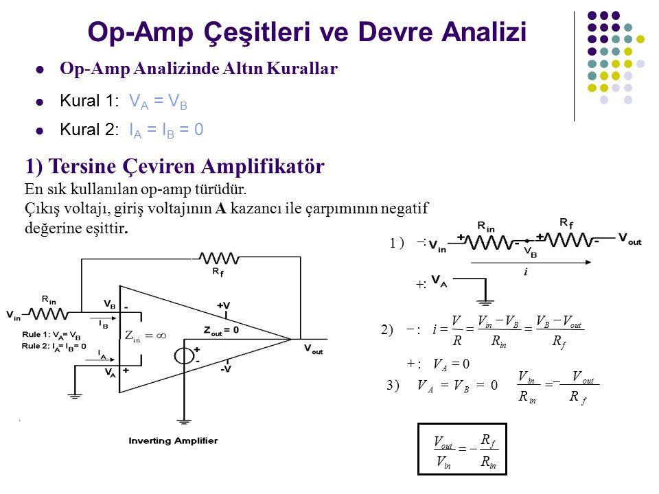 Op-Amp Çeşitleri ve Devre Analizi Op-Amp Analizinde Altın Kurallar Kural 1: V A = V B Kural 2: I A = I B = 0 1) Tersine Çeviren Amplifikatör En sık kullanılan op-amp türüdür.