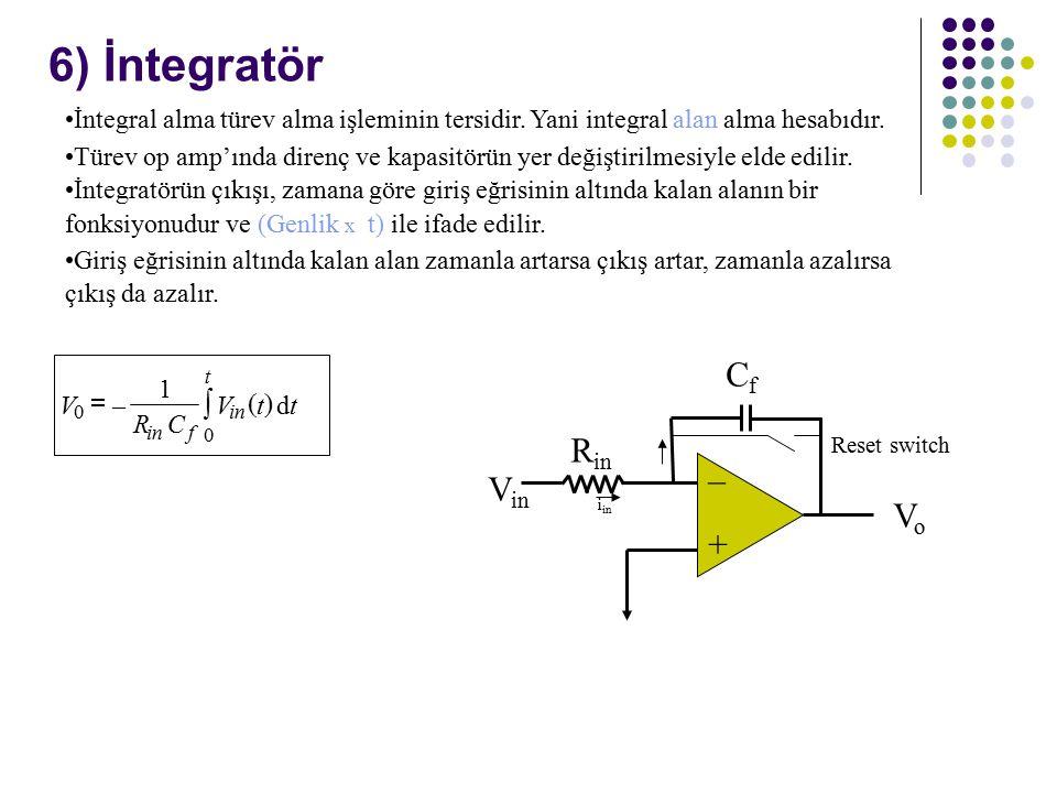 6) İntegratör CfCf + – V in VoVo R in Reset switch İntegral alma türev alma işleminin tersidir.