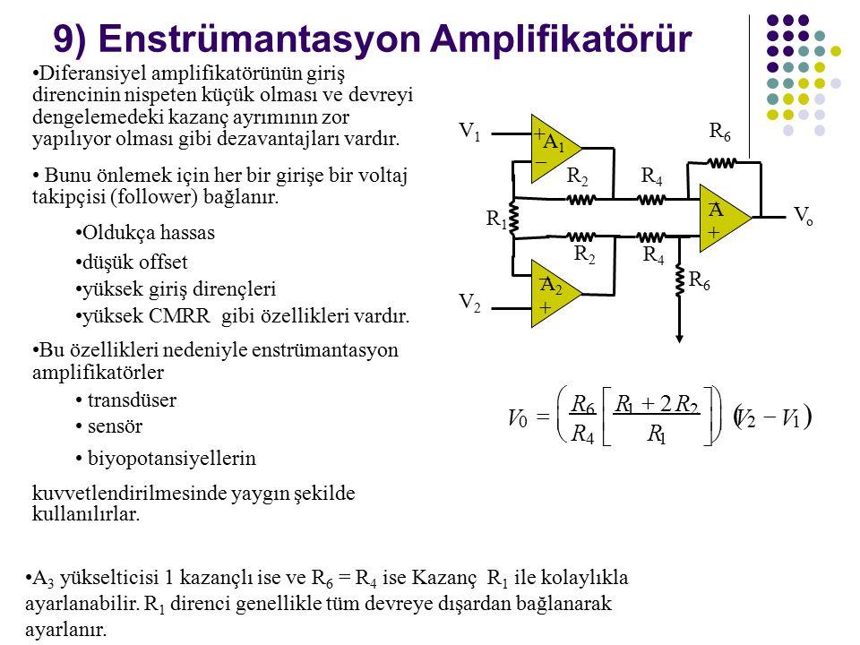 9) Enstrümantasyon Amplifikatörür Diferansiyel amplifikatörünün giriş direncinin nispeten küçük olması ve devreyi dengelemedeki kazanç ayrımının zor yapılıyor olması gibi dezavantajları vardır.