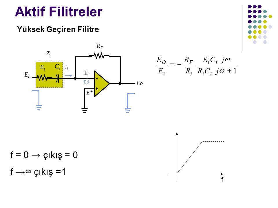 Aktif Filitreler f = 0 → çıkış = 0 f →∞ çıkış =1 Yüksek Geçiren Filitre f Eo E +E + E - Ed EiEi RiRi IiIi CiCi RFRF ZiZi E E R R j j O i F i   RC RC ii ii   1