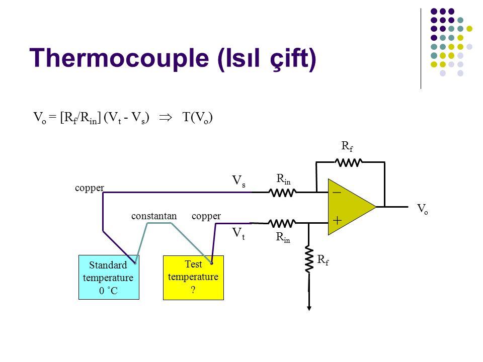 Thermocouple (Isıl çift) V o = [R f /R in ] (V t - V s )  T(V o ) RfRf + – VoVo R in RfRf Standard temperature 0 ˚C Test temperature .