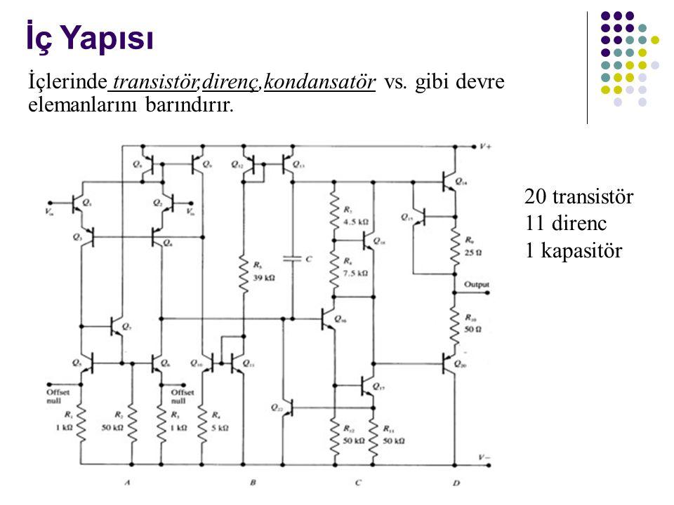İç Yapısı 20 transistör 11 direnc 1 kapasitör İçlerinde transistör,direnç,kondansatör vs.