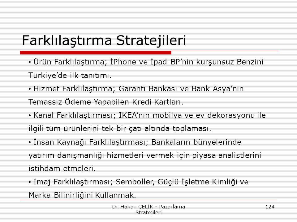 Dr. Hakan ÇELİK - Pazarlama Stratejileri 124 Farklılaştırma Stratejileri Ürün Farklılaştırma; İPhone ve İpad-BP'nin kurşunsuz Benzini Türkiye'de ilk t