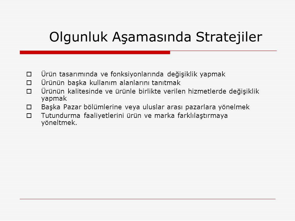 Olgunluk Aşamasında Stratejiler  Ürün tasarımında ve fonksiyonlarında değişiklik yapmak  Ürünün başka kullanım alanlarını tanıtmak  Ürünün kalitesi