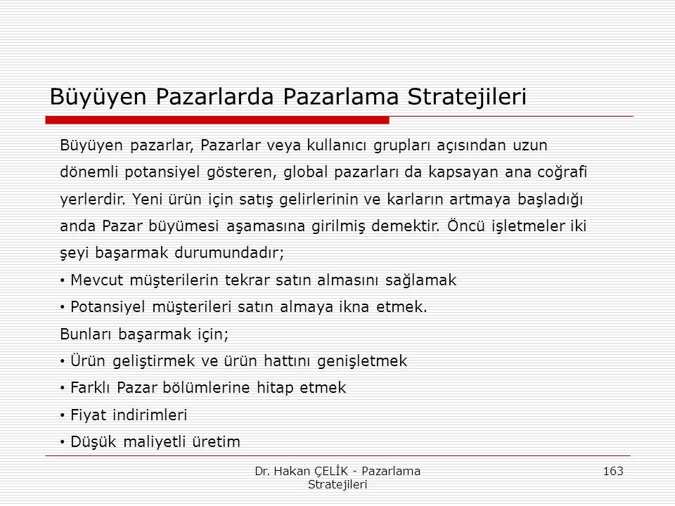 Dr. Hakan ÇELİK - Pazarlama Stratejileri 163 Büyüyen Pazarlarda Pazarlama Stratejileri Büyüyen pazarlar, Pazarlar veya kullanıcı grupları açısından uz