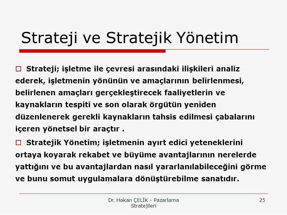 Dr. Hakan ÇELİK - Pazarlama Stratejileri 25 Strateji ve Stratejik Yönetim  Strateji; işletme ile çevresi arasındaki ilişkileri analiz ederek, işletme