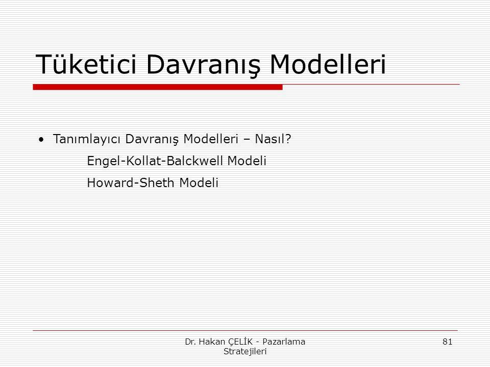 Dr. Hakan ÇELİK - Pazarlama Stratejileri 81 Tüketici Davranış Modelleri Tanımlayıcı Davranış Modelleri – Nasıl? Engel-Kollat-Balckwell Modeli Howard-S