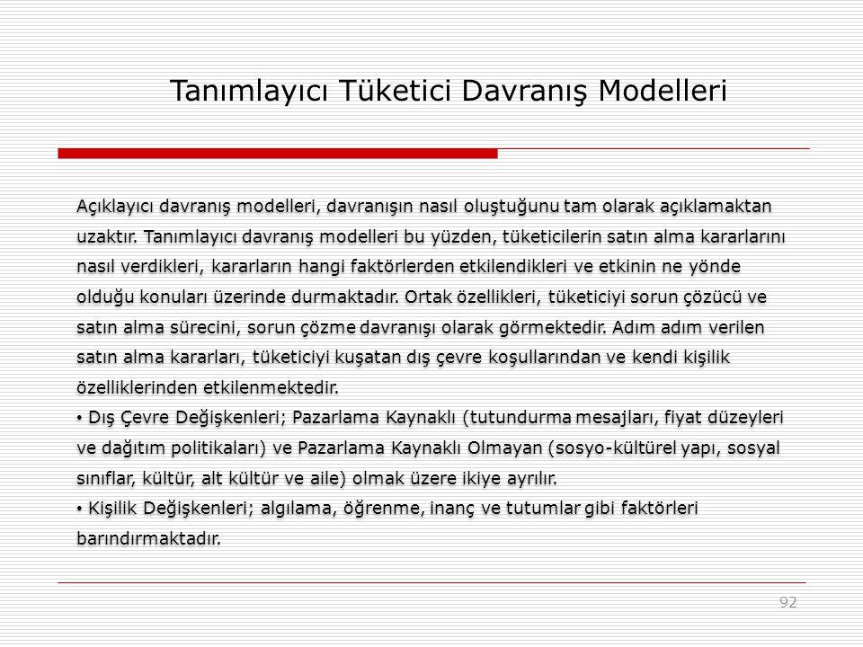 92 Açıklayıcı davranış modelleri, davranışın nasıl oluştuğunu tam olarak açıklamaktan uzaktır. Tanımlayıcı davranış modelleri bu yüzden, tüketicilerin