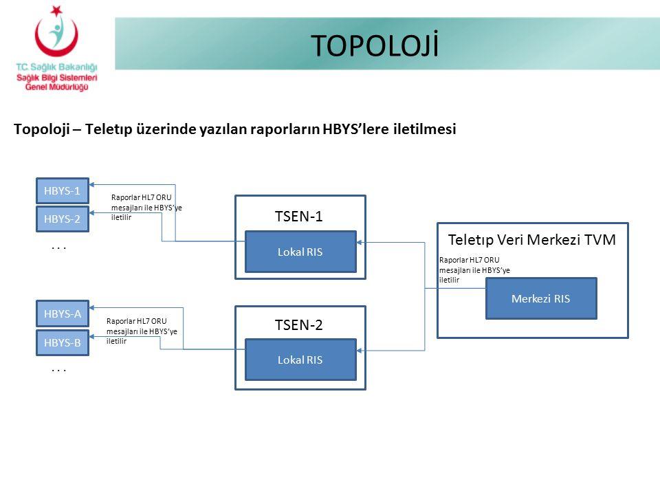 TOPOLOJİ Topoloji – Teletıp üzerinde yazılan raporların HBYS'lere iletilmesi TSEN-2 TSEN-1 Lokal RIS Teletıp Veri Merkezi TVM Merkezi RIS HBYS-1 HBYS-
