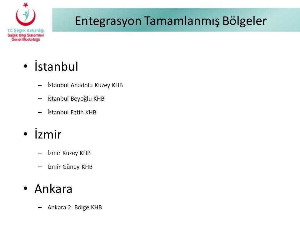 Entegrasyon Tamamlanmış Bölgeler İstanbul – İstanbul Anadolu Kuzey KHB – İstanbul Beyoğlu KHB – İstanbul Fatih KHB İzmir – İzmir Kuzey KHB – İzmir Gün