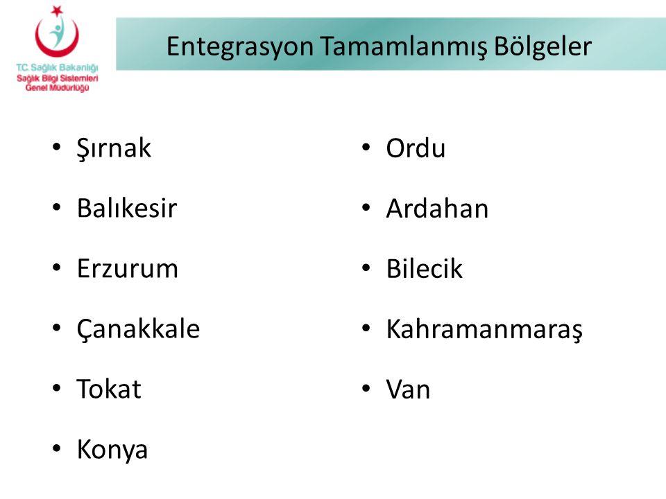 Entegrasyon Tamamlanmış Bölgeler Şırnak Balıkesir Erzurum Çanakkale Tokat Konya Ordu Ardahan Bilecik Kahramanmaraş Van