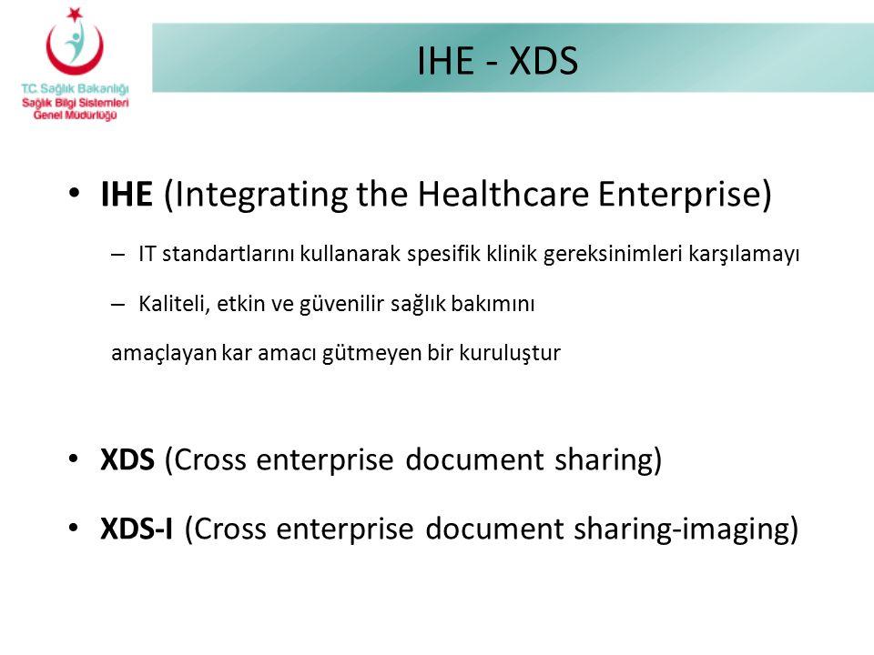 IHE - XDS IHE (Integrating the Healthcare Enterprise) – IT standartlarını kullanarak spesifik klinik gereksinimleri karşılamayı – Kaliteli, etkin ve g