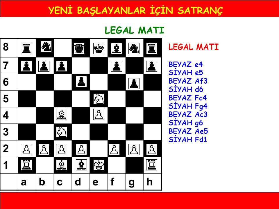 YENİ BAŞLAYANLAR İÇİN SATRANÇ LEGAL MATI BEYAZ e4 SİYAH e5 BEYAZ Af3 SİYAH d6 BEYAZ Fc4 SİYAH Fg4 BEYAZ Ac3 SİYAH g6 BEYAZ Ae5 SİYAH Fd1 8 7 6 5 4 3 2