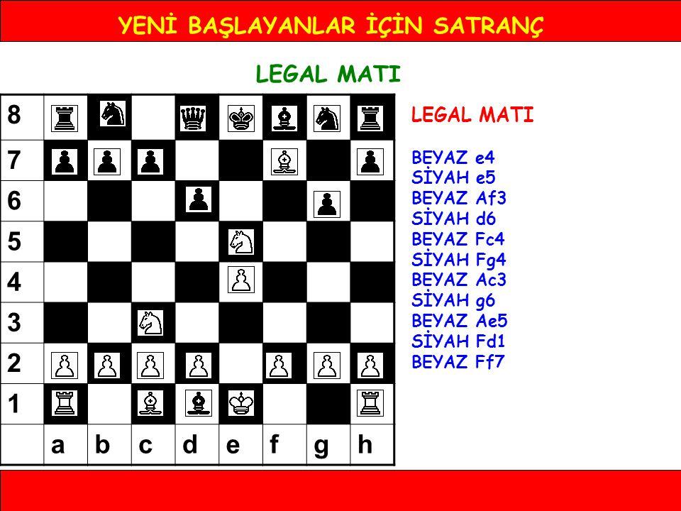YENİ BAŞLAYANLAR İÇİN SATRANÇ LEGAL MATI BEYAZ e4 SİYAH e5 BEYAZ Af3 SİYAH d6 BEYAZ Fc4 SİYAH Fg4 BEYAZ Ac3 SİYAH g6 BEYAZ Ae5 SİYAH Fd1 BEYAZ Ff7 8 7
