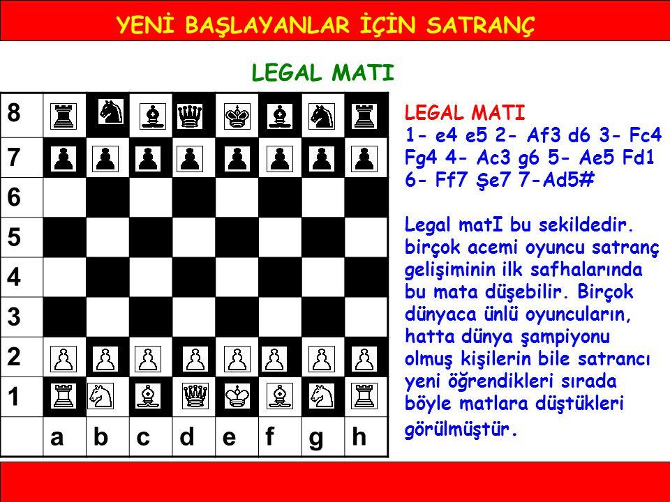 YENİ BAŞLAYANLAR İÇİN SATRANÇ LEGAL MATI 1- e4 e5 2- Af3 d6 3- Fc4 Fg4 4- Ac3 g6 5- Ae5 Fd1 6- Ff7 Şe7 7-Ad5# Legal matI bu sekildedir. birçok acemi o