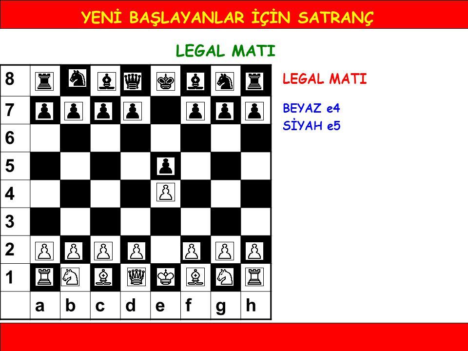 YENİ BAŞLAYANLAR İÇİN SATRANÇ LEGAL MATI BEYAZ e4 SİYAH e5 BEYAZ Af3 SİYAH d6 BEYAZ Fc4 SİYAH Fg4 BEYAZ Ac3 SİYAH g6 BEYAZ Ae5 SİYAH Fd1 BEYAZ Ff7 SİYAH Şe7 BEYAZ Ad5# At d5 karesine gelerek oyunu sonlandırıyor.