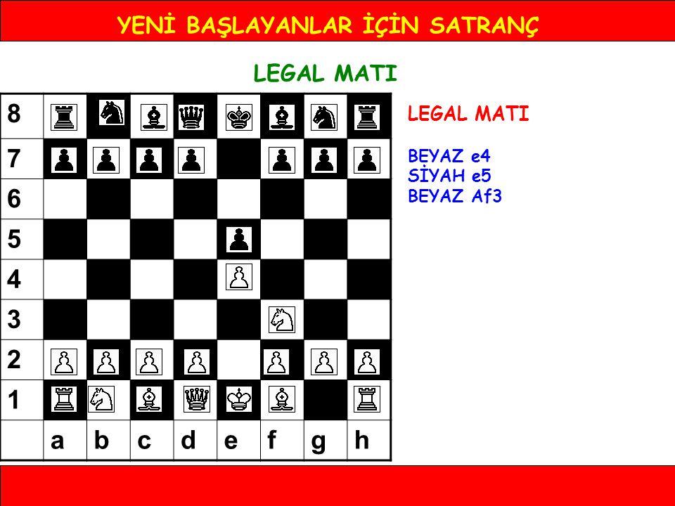 YENİ BAŞLAYANLAR İÇİN SATRANÇ LEGAL MATI BEYAZ e4 SİYAH e5 BEYAZ Af3 8 7 6 5 4 3 2 1 abcdefgh