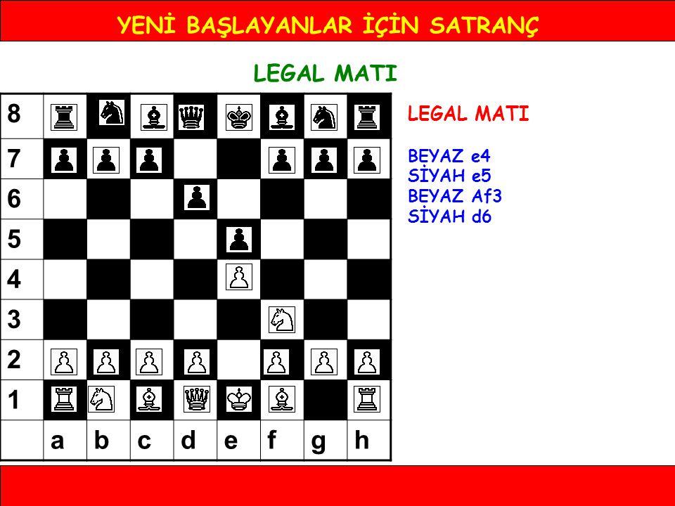 YENİ BAŞLAYANLAR İÇİN SATRANÇ LEGAL MATI BEYAZ e4 SİYAH e5 BEYAZ Af3 SİYAH d6 BEYAZ Fc4 8 7 6 5 4 3 2 1 abcdefgh