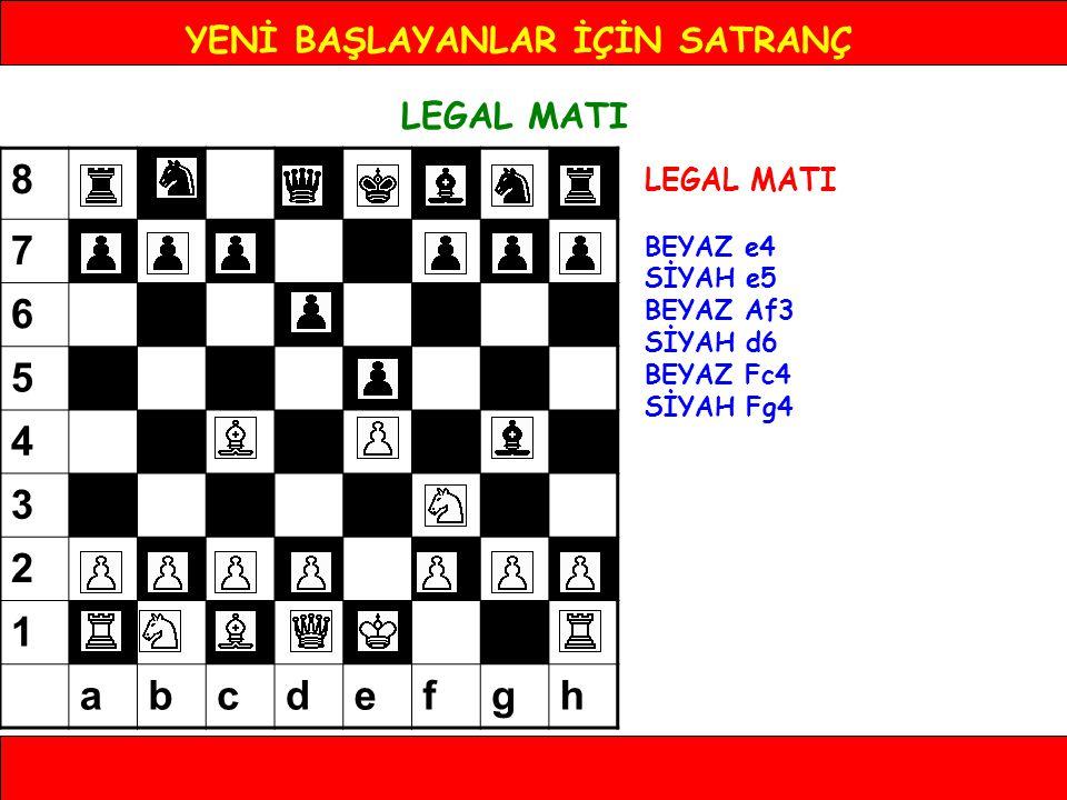 YENİ BAŞLAYANLAR İÇİN SATRANÇ LEGAL MATI BEYAZ e4 SİYAH e5 BEYAZ Af3 SİYAH d6 BEYAZ Fc4 SİYAH Fg4 8 7 6 5 4 3 2 1 abcdefgh
