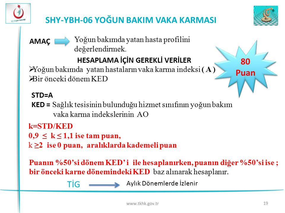 19 SHY-YBH-06 YOĞUN BAKIM VAKA KARMASI 80 Puan 80 Puan AMAÇ HESAPLAMA İÇİN GEREKLİ VERİLER Yoğun bakımda yatan hasta profilini değerlendirmek.  Yoğun