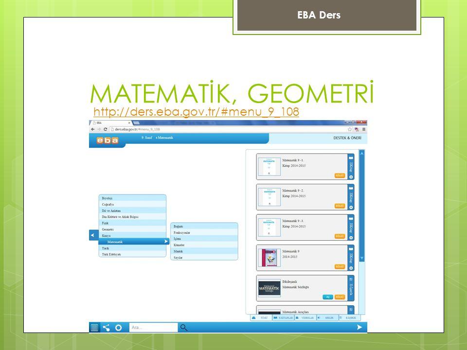 MATEMATİK, GEOMETRİ EBA Ders http://ders.eba.gov.tr/#menu_9_108
