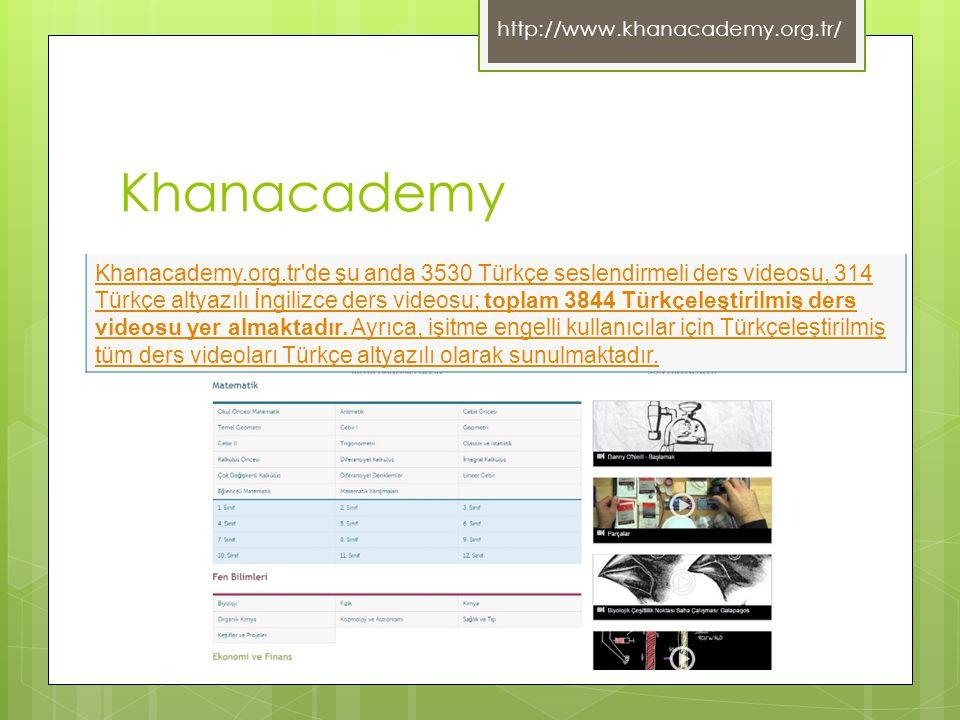 Khanacademy Khanacademy.org.tr'de şu anda 3530 Türkçe seslendirmeli ders videosu, 314 Türkçe altyazılı İngilizce ders videosu; toplam 3844 Türkçeleşti