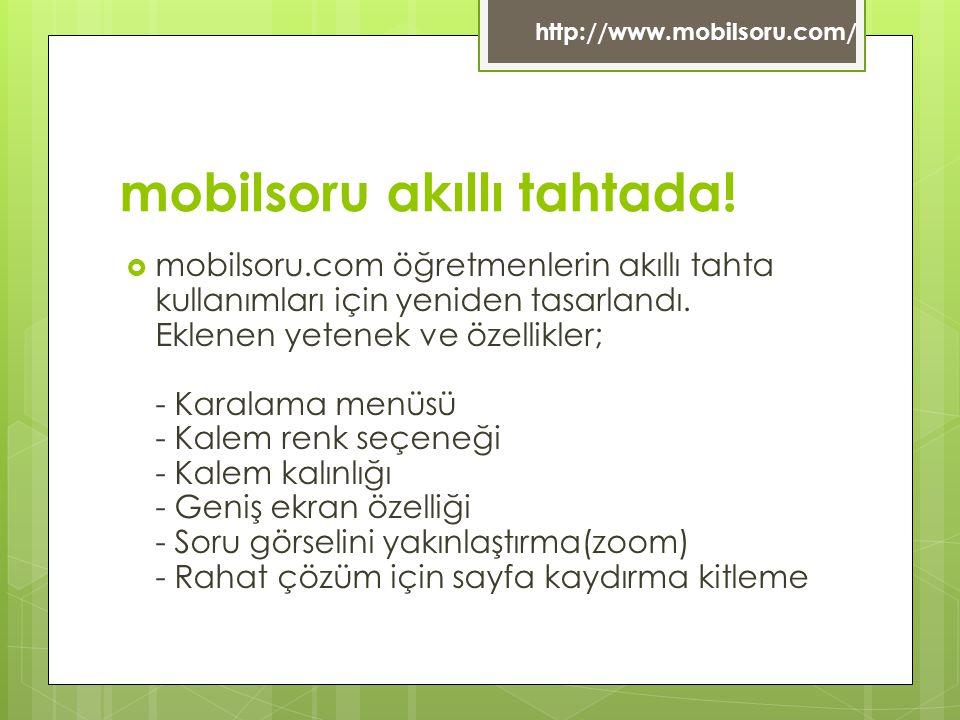 mobilsoru akıllı tahtada!  mobilsoru.com öğretmenlerin akıllı tahta kullanımları için yeniden tasarlandı. Eklenen yetenek ve özellikler; - Karalama m