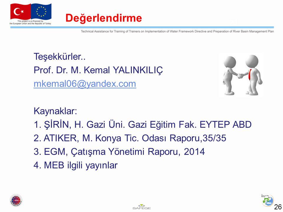 Teşekkürler.. Prof. Dr. M. Kemal YALINKILIÇ mkemal06@yandex.com Kaynaklar: 1.