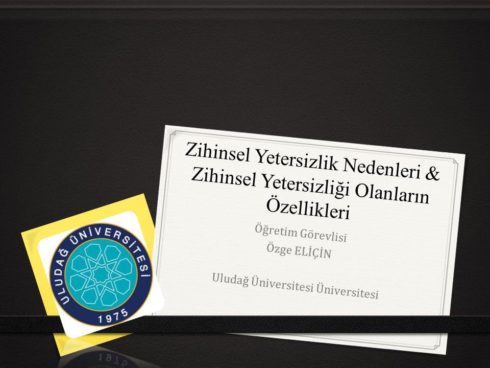 Zihinsel Yetersizlik Nedenleri & Zihinsel Yetersizliği Olanların Özellikleri Öğretim Görevlisi Özge ELİÇİN Uludağ Üniversitesi Üniversitesi