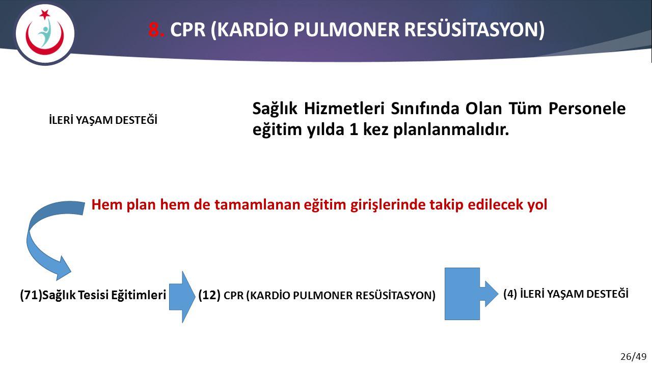 26/49 8. CPR (KARDİO PULMONER RESÜSİTASYON) Sağlık Hizmetleri Sınıfında Olan Tüm Personele eğitim yılda 1 kez planlanmalıdır. İLERİ YAŞAM DESTEĞİ (71)