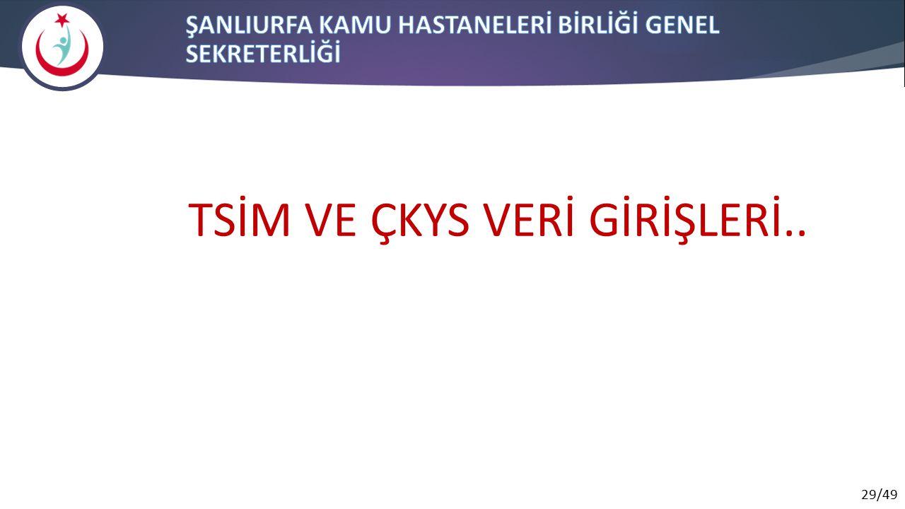 29/49 TSİM VE ÇKYS VERİ GİRİŞLERİ..