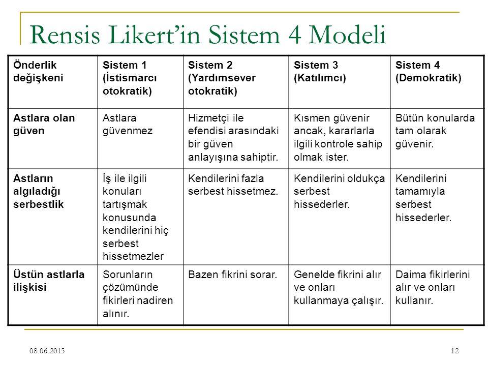 12 Rensis Likert'in Sistem 4 Modeli Önderlik değişkeni Sistem 1 (İstismarcı otokratik) Sistem 2 (Yardımsever otokratik) Sistem 3 (Katılımcı) Sistem 4