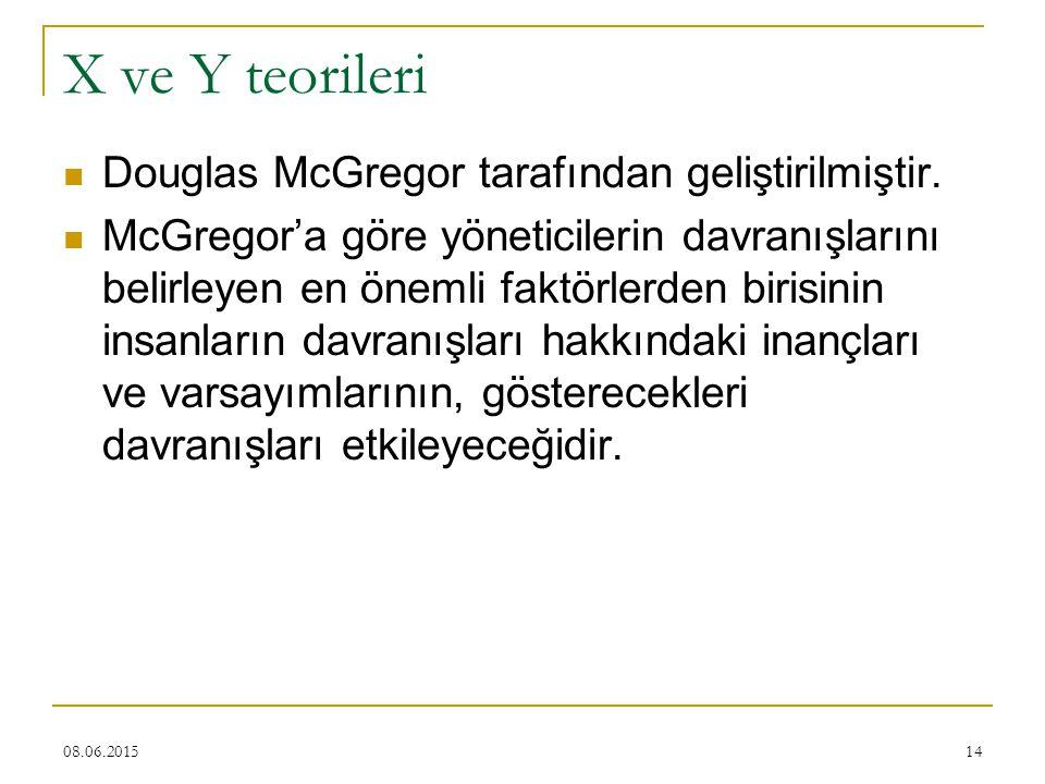 14 X ve Y teorileri Douglas McGregor tarafından geliştirilmiştir. McGregor'a göre yöneticilerin davranışlarını belirleyen en önemli faktörlerden biris