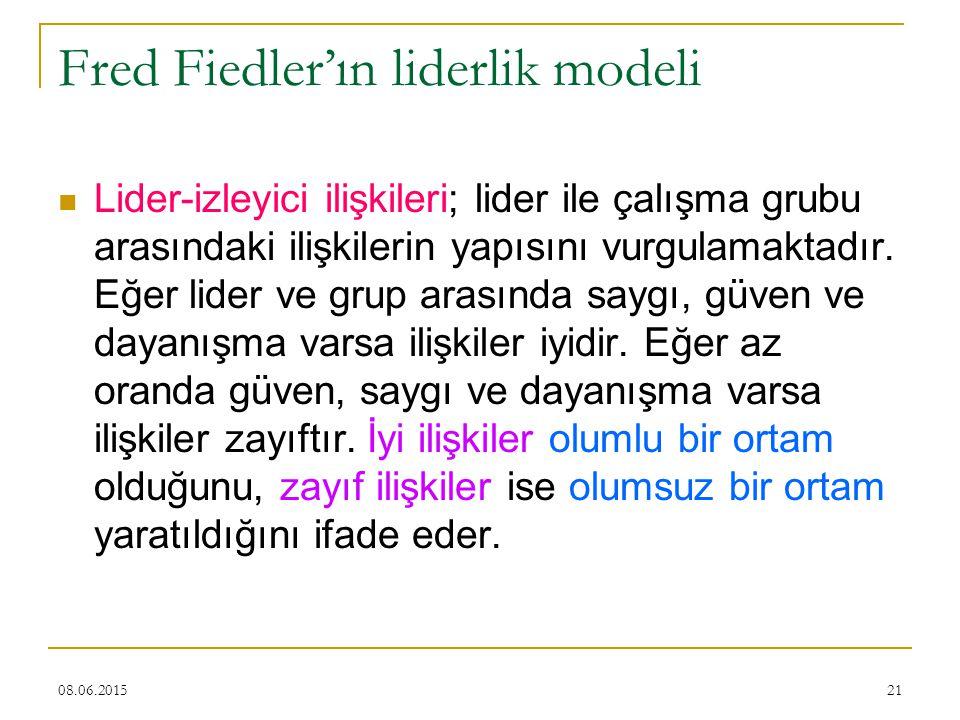 21 Fred Fiedler'ın liderlik modeli Lider-izleyici ilişkileri; lider ile çalışma grubu arasındaki ilişkilerin yapısını vurgulamaktadır. Eğer lider ve g