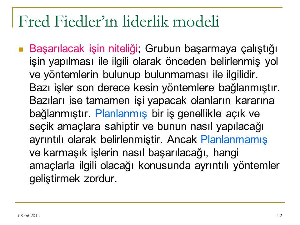 22 Fred Fiedler'ın liderlik modeli Başarılacak işin niteliği; Grubun başarmaya çalıştığı işin yapılması ile ilgili olarak önceden belirlenmiş yol ve y