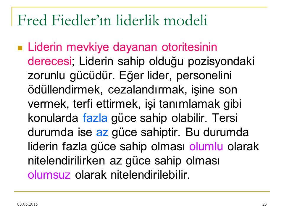 23 Fred Fiedler'ın liderlik modeli Liderin mevkiye dayanan otoritesinin derecesi; Liderin sahip olduğu pozisyondaki zorunlu gücüdür. Eğer lider, perso