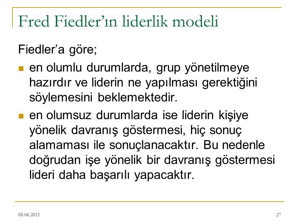 27 Fred Fiedler'ın liderlik modeli Fiedler'a göre; en olumlu durumlarda, grup yönetilmeye hazırdır ve liderin ne yapılması gerektiğini söylemesini bek