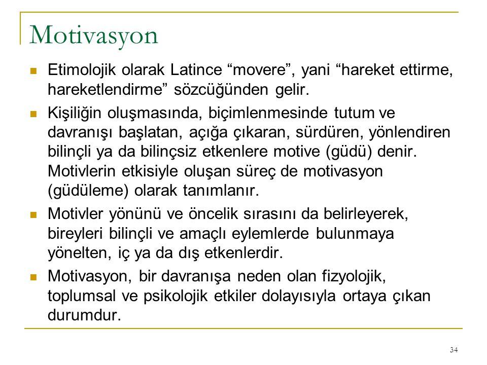 """Motivasyon Etimolojik olarak Latince """"movere"""", yani """"hareket ettirme, hareketlendirme"""" sözcüğünden gelir. Kişiliğin oluşmasında, biçimlenmesinde tutum"""