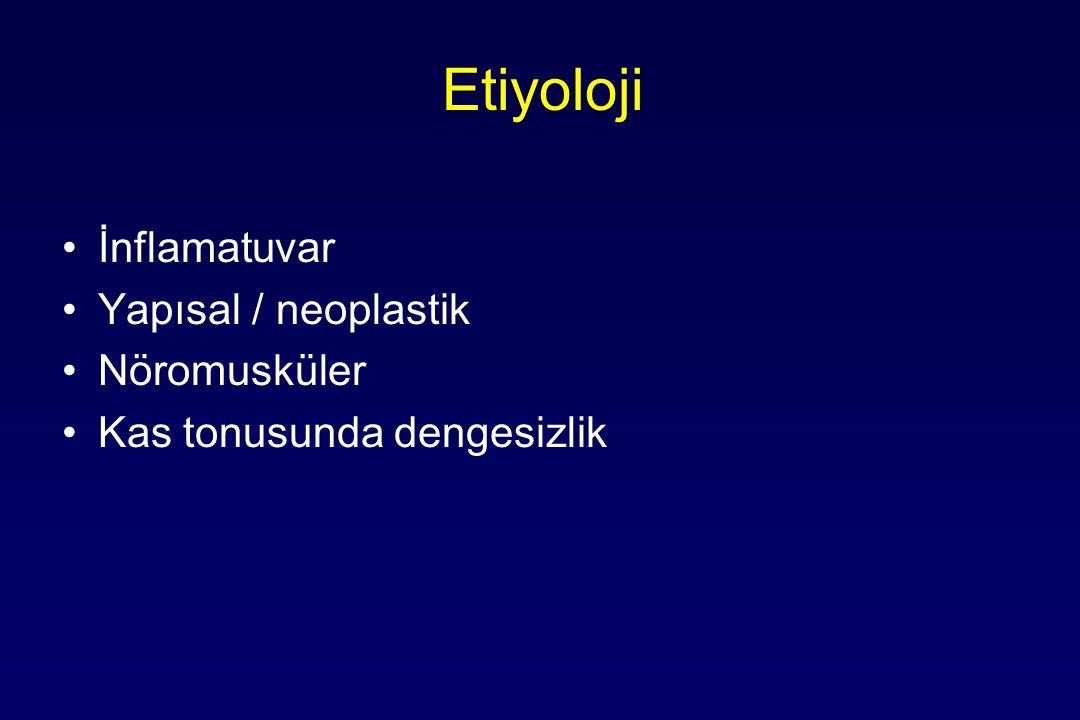 Etiyoloji İnflamatuvar Yapısal / neoplastik Nöromusküler Kas tonusunda dengesizlik