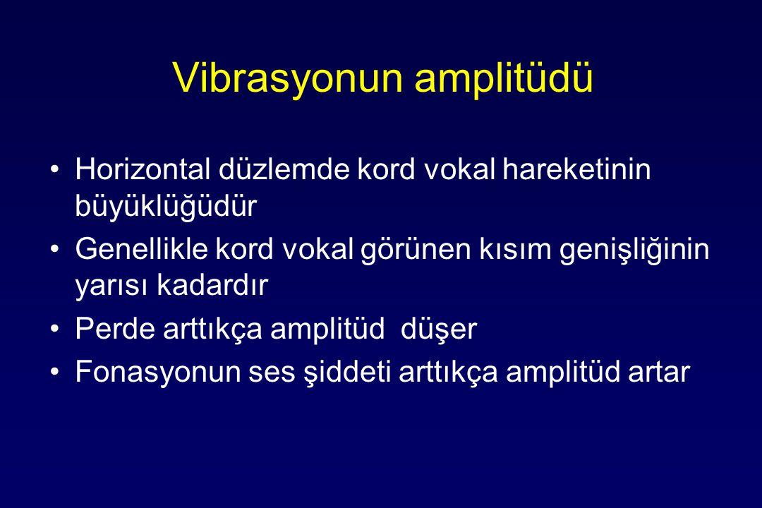 Vibrasyonun amplitüdü Horizontal düzlemde kord vokal hareketinin büyüklüğüdür Genellikle kord vokal görünen kısım genişliğinin yarısı kadardır Perde arttıkça amplitüd düşer Fonasyonun ses şiddeti arttıkça amplitüd artar
