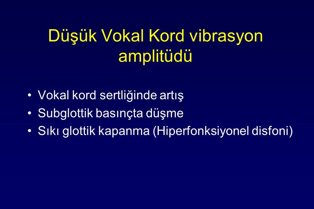 Düşük Vokal Kord vibrasyon amplitüdü Vokal kord sertliğinde artış Subglottik basınçta düşme Sıkı glottik kapanma (Hiperfonksiyonel disfoni)